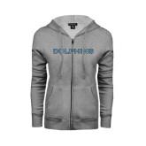 ENZA Ladies Grey Fleece Full Zip Hoodie-Dolphins