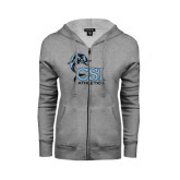 College of Staton Island ENZA Ladies Grey Fleece Full Zip Hoodie-Athletics