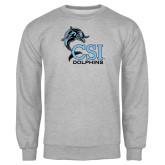 College of Staton Island Grey Fleece Crew-Official Logo