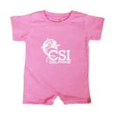 College of Staton Island Bubble Gum Pink Infant Romper-Official Logo