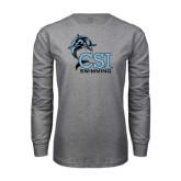 Grey Long Sleeve T Shirt-Swimming