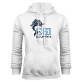 College of Staton Island White Fleece Hoodie-CSI