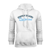 College of Staton Island White Fleece Hoodie-Staten Island Dolphins