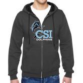 College of Staton Island Charcoal Fleece Full Zip Hoodie-Official Logo