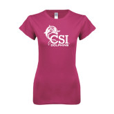 College of Staton Island Next Level Ladies SoftStyle Junior Fitted Fuchsia Tee-Official Logo