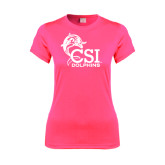 College of Staton Island Ladies Performance Hot Pink Tee-Official Logo