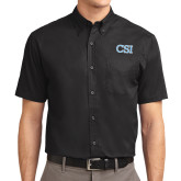 College of Staton Island Black Twill Button Down Short Sleeve-CSI