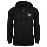 College of Staton Island Black Fleece Full Zip Hoodie-Official Logo