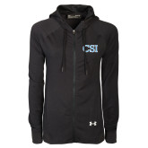College of Staton Island Ladies Under Armour Black Varsity Full Zip Hoodie-CSI