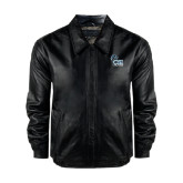 Black Leather Bomber Jacket-Official Logo