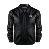Black Leather Bomber Jacket-CSI