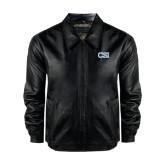 Black Leather Bomber Jacket-CSI