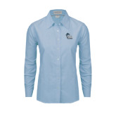 College of Staton Island Ladies Light Blue Oxford Shirt-Official Logo