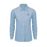 College of Staton Island Ladies Light Blue Oxford Shirt-CSI