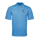 College of Staton Island Light Blue Mini Stripe Polo-Official Logo