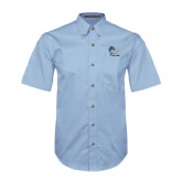 College of Staton Island Light Blue Twill Button Down Short Sleeve-Official Logo
