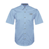 College of Staton Island Light Blue Twill Button Down Short Sleeve-CSI