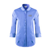 College of Staton Island Ladies Red House Light Blue 3/4 Sleeve Shirt-CSI