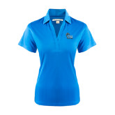 Ladies Light Blue Performance Fine Jacquard Polo-Official Logo