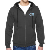 College of Staton Island Charcoal Fleece Full Zip Hoodie-CSI