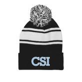Black/White Two Tone Knit Pom Beanie with Cuff-CSI