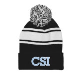 College of Staton Island Black/White Two Tone Knit Pom Beanie w/Cuff-CSI