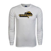 White Long Sleeve T Shirt-Cameron Aggies Pick and Mountain
