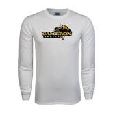 White Long Sleeve T Shirt-Cameron Aggies Pick and Mountain