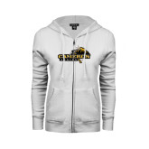 ENZA Ladies White Fleece Full Zip Hoodie-Cameron Aggies Pick and Mountain