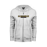 ENZA Ladies White Fleece Full Zip Hoodie-Cameron Aggies Flat