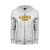 ENZA Ladies White Fleece Full Zip Hoodie-Cameron Arched Aggies