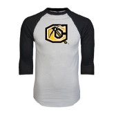 White/Black Raglan Baseball T-Shirt-Official Logo