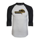 White/Black Raglan Baseball T-Shirt-Cameron Aggies Pick and Mountain