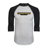 White/Black Raglan Baseball T-Shirt-Cameron Aggies Flat