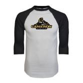 White/Black Raglan Baseball T-Shirt-Cameron Aggies Miner