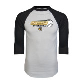 White/Black Raglan Baseball T-Shirt-Cameron Baseball w/ Flying Ball