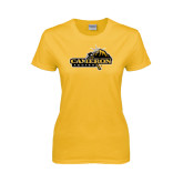 Ladies Gold T Shirt-Cameron Aggies Pick and Mountain