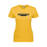 Ladies Gold T Shirt-Cameron Aggies Flat