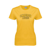 Ladies Gold T Shirt-Cameron Arched Aggies