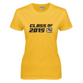 Ladies Gold T Shirt-Class Of Design 2 Lines