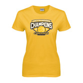 Ladies Gold T Shirt-Lone Star Conference Basketball Champs