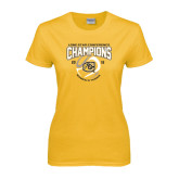 Ladies Gold T Shirt-2016 Lone Star Conference Champions Womens Tennis