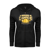 ENZA Ladies Black Fleece Full Zip Hoodie-Lone Star Conference Basketball Champs