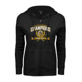 ENZA Ladies Black Fleece Full Zip Hoodie-2016 Lone Star Conference Champions Mens Golf