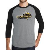 Grey/Black Tri Blend Baseball Raglan-Cameron Aggies Pick and Mountain