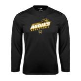 Syntrel Performance Black Longsleeve Shirt-Aggies Basketball Slanted
