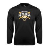Syntrel Performance Black Longsleeve Shirt-Softball w/ Bats and Plate