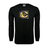 Black Long Sleeve TShirt-Official Logo Distressed
