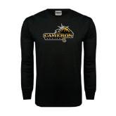 Black Long Sleeve TShirt-Cameron Aggies Pick and Mountain