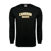 Black Long Sleeve TShirt-Cameron Arched Aggies